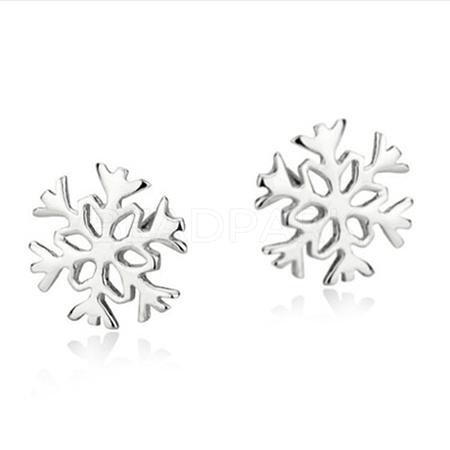 Real Platinum Plated Brass Snowflake Stud EarringsEJEW-EE0002-001-1