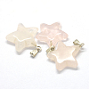 Star Natural Rose Quartz Pendants X-G-Q367-12-2