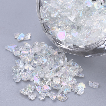 Transparent Glass Seed Beads, For Nail Art Decoration, No Hole/Undrilled, Chip, Clear AB, 1.5~3x1.5~2x1.5~2mm; about 450g/bag