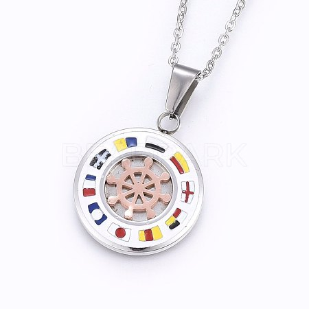 304 Stainless Steel Pendant NecklacesNJEW-H487-15-1
