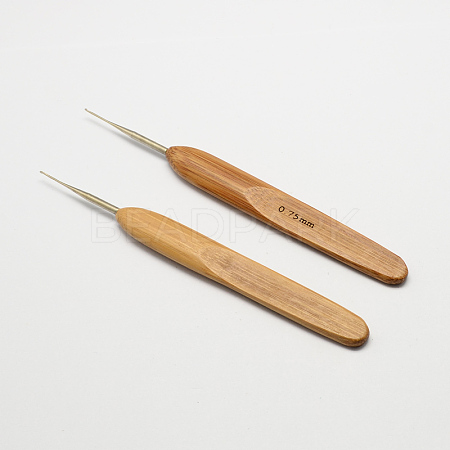 Bamboo Handle Iron Crochet Hook NeedlesX-TOOL-R034-0.75mm-1