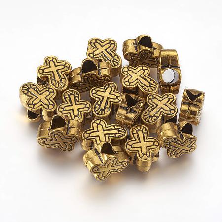 Tibetan Style Alloy Cross Large Hole European BeadsX-TIBEB-5885-AG-FF-1