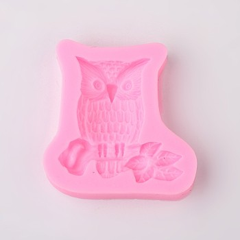 Cute Owl Design DIY Food Grade Silicone Molds, Fondant Molds, For DIY Cake Decoration, Chocolate, Candy, Soap, UV Resin & Epoxy Resin Jewelry Making, Random Single Color or Random Mixed Color, 58x57x11mm; Inner Size: 44x47mm
