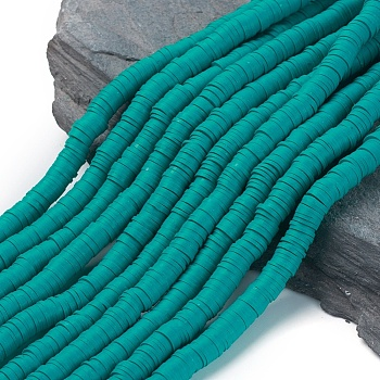 Handmade Polymer Clay Beads, Disc/Flat Round, Heishi Beads, DarkCyan, 8x0.5~1mm, Hole: 2mm; about 380~400pcs/strand, 17.7