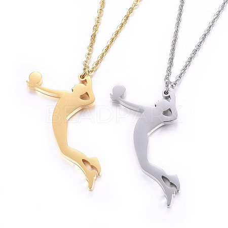304 Stainless Steel Pendant NecklacesNJEW-H496-01-1