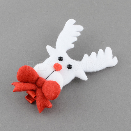 Christmas Party Accessories Supplies Iron with Cloth Reindeer Deer Alligator Hair ClipsPHAR-R116-11-1