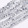 Faceted Round Half Plated Electroplate Glass Beads Strands X-EGLA-J042-4mm-H02-2