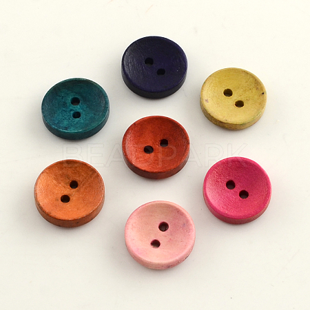 2-Hole Dyed Wooden ButtonsX-BUTT-R031-036-1