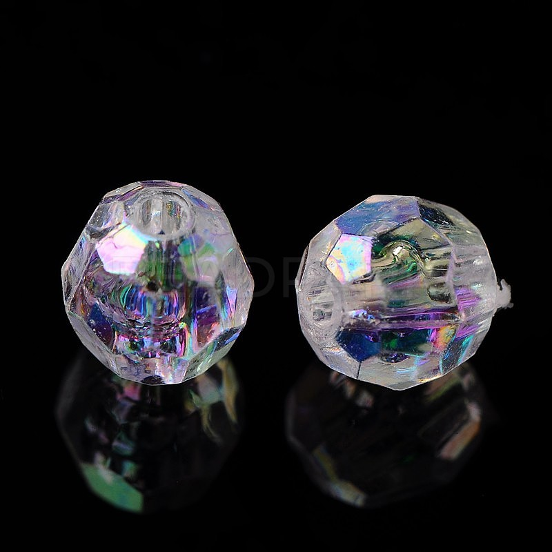 CRYSTAL CLEAR~FACETED~TRANSPARENT~ACRYLIC BEADS~ ROUND SHAPE PACK OF 15