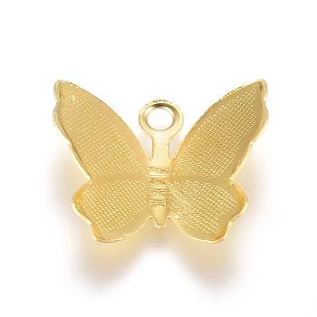Brass Filigree Pendants, Butterfly Charms, Golden, 11x13.5x3mm, Hole: 1.5mm