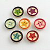 4-Hole Printed Wooden Buttons X-BUTT-R032-075-1