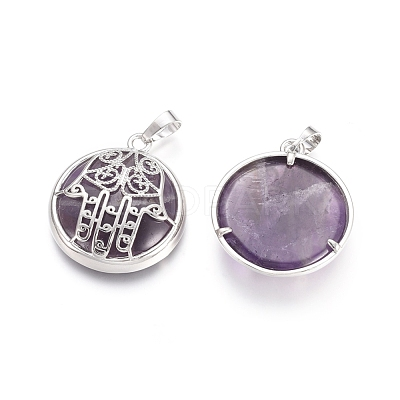Natural Amethyst Pendants G-L512-J02-1