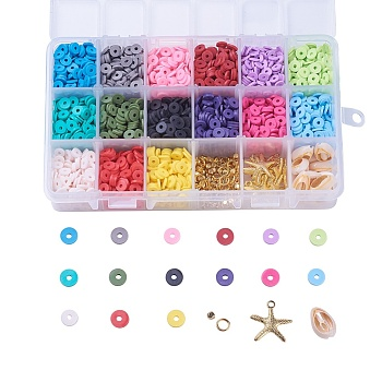 Environmental Handmade Polymer Clay Beads, Disc/Flat Round, Heishi Beads, Mixed Color, 6x1mm, Hole: 2mm; about 190~200pcs/compartment, 2850~3000pcs/box