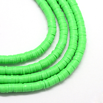 Handmade Polymer Clay Beads, Disc/Flat Round, Heishi Beads, Lime, 8x0.5~1mm, Hole: 2mm; about 380~400pcs/strand, 17.7 inches
