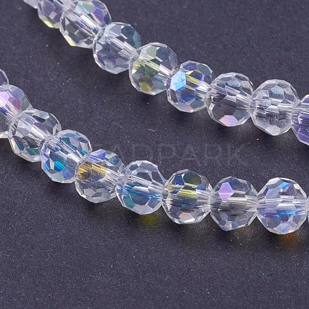 Faceted Round AB Color Electroplate Glass Beads StrandsX-EGLA-J042-4mm-AB03-1
