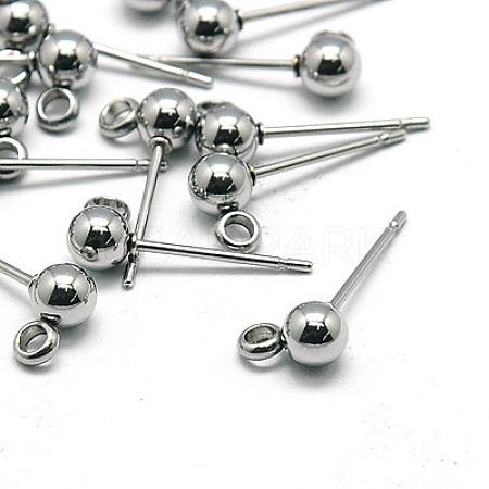 304 Stainless Steel Stud Earring FindingsX-STAS-E026-3-1