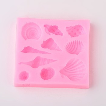 Shell Design DIY Food Grade Silicone Molds, Fondant Molds, For DIY Cake Decoration, Chocolate, Candy, Soap, UV Resin & Epoxy Resin Jewelry Making, Random Single Color or Random Mixed Color, 76x71x12mm; Inner Size: 11~41x8~26mm