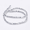 Faceted Round Half Plated Electroplate Glass Beads Strands X-EGLA-J042-4mm-H02-3