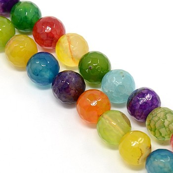 Mixed Color Natural Agate Beads Strands, Dyed, Faceted, Round, Natural Agate, 10mm, Hole: 1mm; about: 38pcs/strand, 15