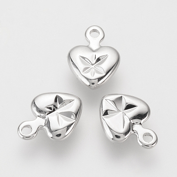 Brass Charms, Real Platinum Plated, Heart, 9x6.5x2mm, Hole: 1mm