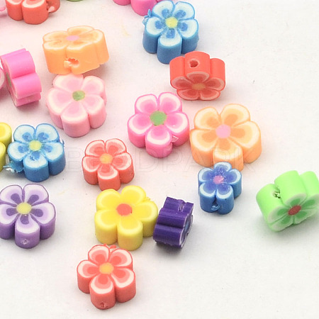 Handmade Polymer Clay Flower Plum Blossom Beads CLAY-Q213-6mm-M-1