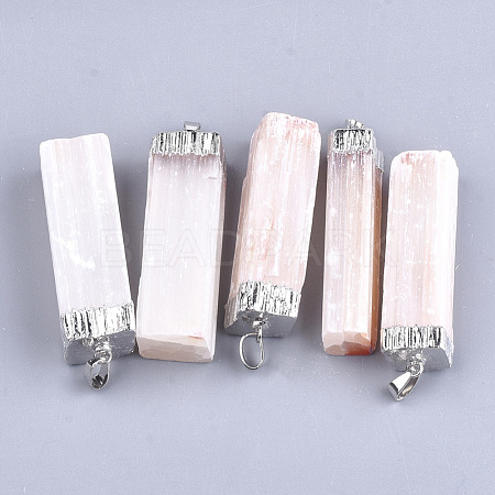 Electroplate Natural Selenite Big Pendants X-G-S344-41C-1
