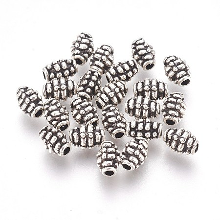 Vintage Style Antique Silver Tone Barrel Tibetan Silver Alloy Beads X-LF9865Y-NF-1