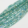 Electroplate Glass Beads Strands X-EGLA-D018-8x8mm-53-1