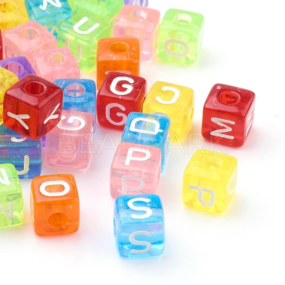 200x Assorted Mini Wooden Alphabet Letter Cube Beads for Jewelry Making 10mm
