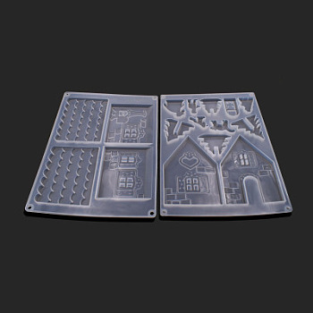 Silicone Molds, Resin Casting Molds, For UV Resin, Epoxy Resin Jewelry Making, House, White, 23x16.5x1cm; 2pcs/set