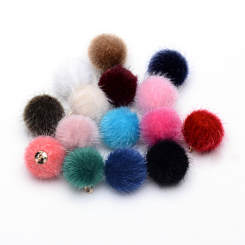 Faux Mink Fur Covered Charms, with Golden Tone Brass Findings, Round, Mixed Color, 14x10mm, Hole: 1.5mm