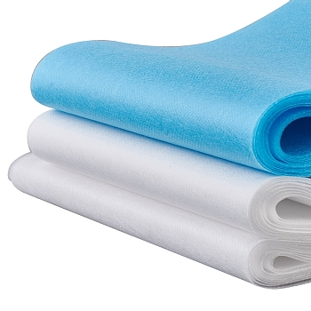 3 Layer Non-Woven Fabric Kit for DIY Mouth Cover, Waterproof, Intermediate Layer Meltblown Filter Cloth, Soft and Breathable, White & Blue, 1 set can make 18~20pcs Mouth Cover; 17.5cm/19cm wide, 2m/roll, 3rolls/set