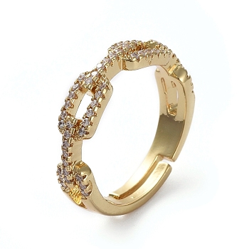 Adjustable Brass Finger Rings, with Micro Pave Cubic Zirconia, Clear, Golden, Size 7, 17.3mm