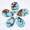 Assembled Natural Bronzite and Synthetic Turquoise Pendants G-S329-076-1