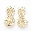 Brass Filigree Kitten PendantsX-KK-R058-062G-1