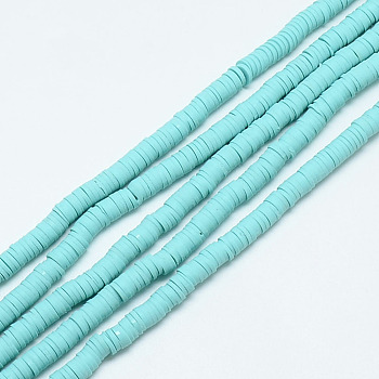 Handmade Polymer Clay Bead Strands, Heishi Beads, Disc/Flat Round, Aqua, 4x0.5~1mm, Hole: 1.5mm; about 320~447pcs/strand, 15.74~16.92inches
