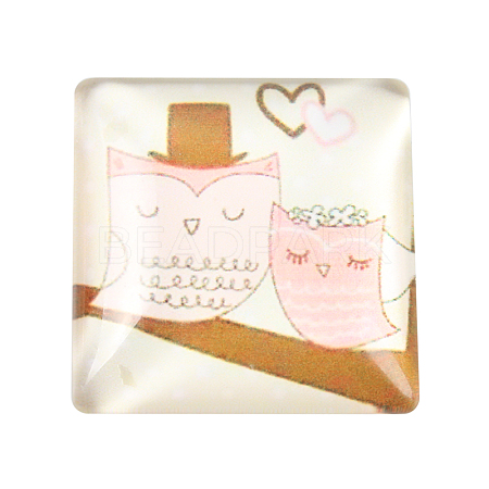 Cartoon Owl Pattern Printed Glass Square Cabochons GGLA-N001-20mm-B46-1