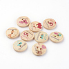 2-Hole Printed Wooden ButtonsX-WOOD-S037-005-1