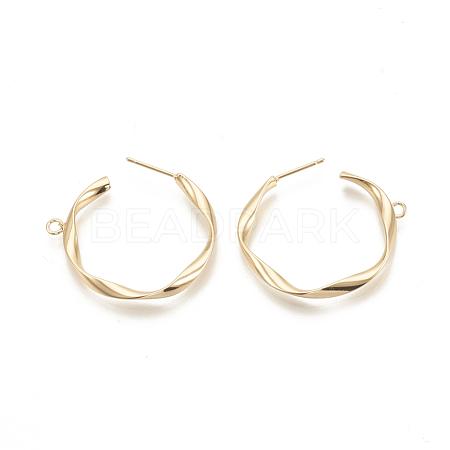 Brass Stud Earring FindingsX-KK-N186-46G-1