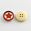 4-Hole Printed Wooden Buttons X-BUTT-R032-075-2