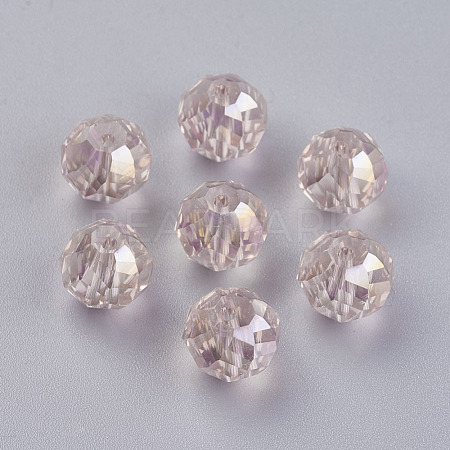 Faceted Round Electroplate Glass Bead StrandsX-EGLA-R033-10mm-01-1