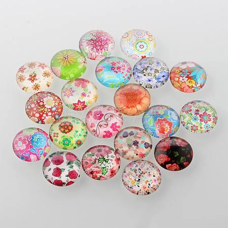 Half Round/Dome Floral Printed Glass CabochonsX-GGLA-A002-20mm-UU-1