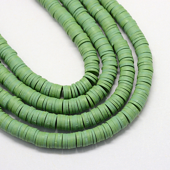 Flat Round Environmental Handmade Polymer Clay Beads, Disc Heishi Beads for Hawaiian Earring Bracelet Necklace Jewelry Making, Dark Sea Green, 8x0.5~1mm, Hole: 2mm; about 380~400pcs/strand, 17.7 inches
