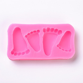 Food Grade Silicone Molds, Fondant Molds, For DIY Cake Decoration, Chocolate, Candy Mold, Footprints, Pink, 47.5x90x11.5mm