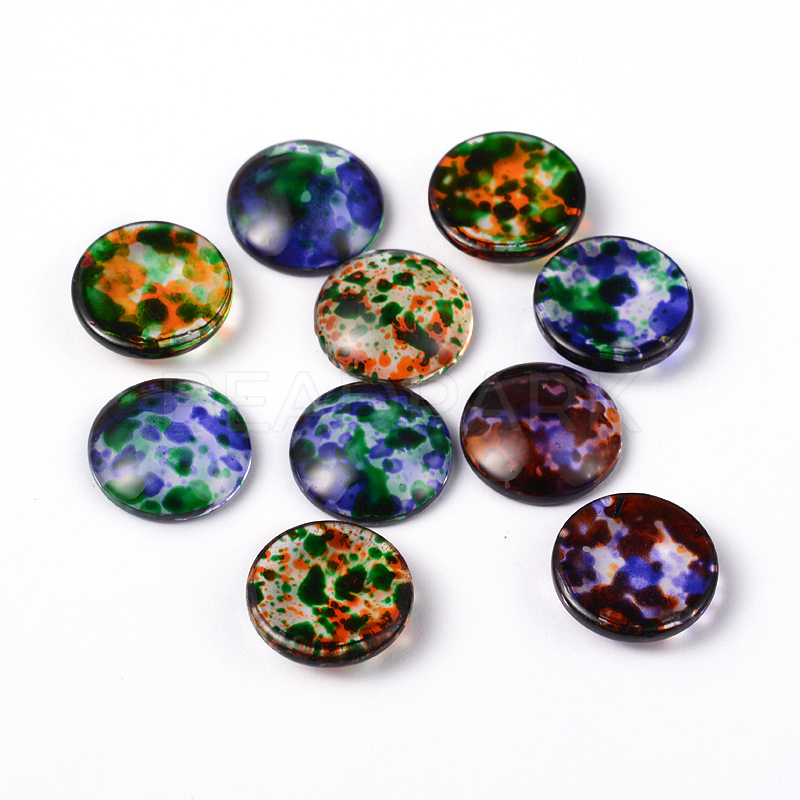 Transparent Spray Painted Glass Cabochons Half Round Dome Mixed Color 16x4 5 5 5mm