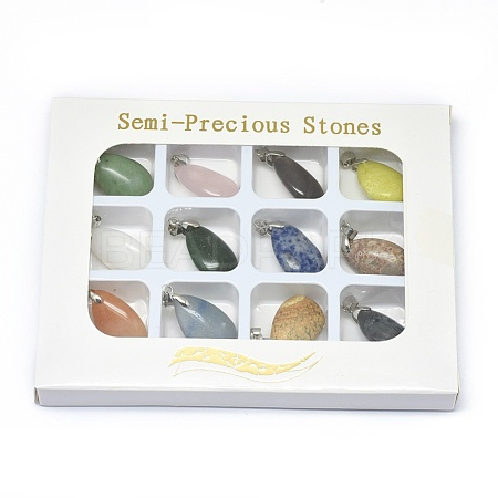 Natural & Synthetic Mixed Gemstone Pendants G-F649-B-1