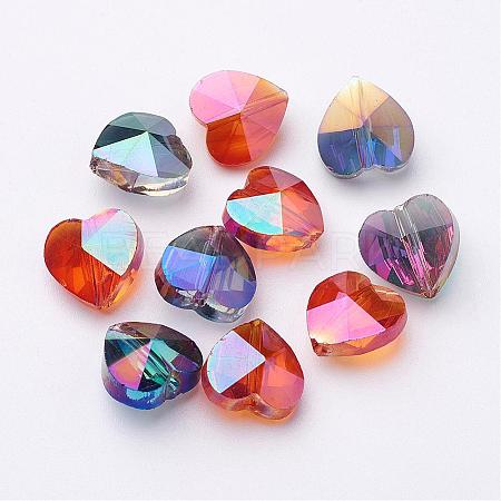 Electroplate Faceted Glass Heart BeadsX-EGLA-R091-M-1