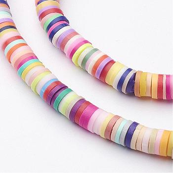 Handmade Polymer Clay Beads, Disc/Flat Round, Heishi Beads, Mixed Color, 5x1mm, Hole: 2mm; about 380~400pcs/strand, 17.7 inches