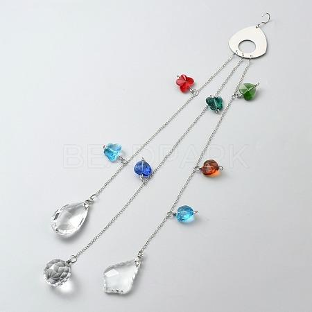 Crystal Glass Suncatcher Chakra Colors Ball PrismAJEW-WH0021-39-1