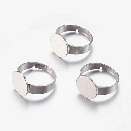 Adjustable 304 Stainless Steel Finger Rings ComponentsSTAS-F149-20P-1